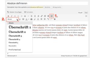 Absätze im WordPress Editor anzeigen lassen.